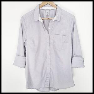 H&M Button Down Long Sleeve Polka Dot Shirt